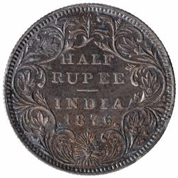 Silver Half Rupee Coin of Victoria Queen of Bombay Mint of 1876.
