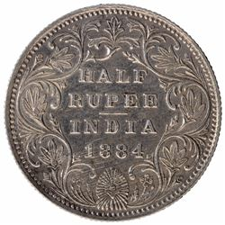 Silver Half Rupee Coin of Victoria Empress of Calcutta Mint of 1884.
