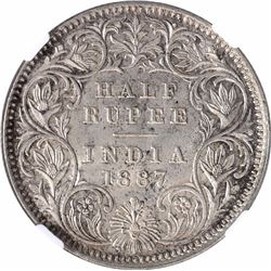 Silver Half Rupee Coin of Victoria Empress of Calcutta Mint of 1887.