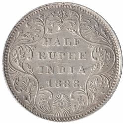 Silver Half Rupee Coin of Victoria Empress of Bombay Mint of 1888.