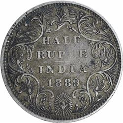 Silver Half Rupee Coin of Victoria Empress of Bombay Mint of 1889.