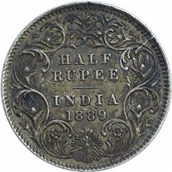 Silver Half Rupee Coin of Victoria Empress of Calcutta Mint 1889.