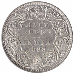 Silver Half Rupee Coin of Victoria Empress of Bombay Mint of 1893.