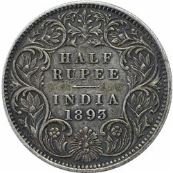 Silver Half Rupee Coin of Victoria Empress of Calcutta Mint of 1893.