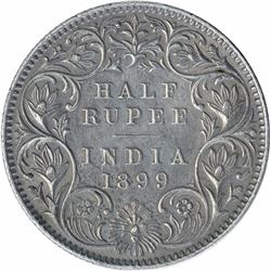 Silver Half Rupee Coin of Victoria Empress of Calcutta Mint of 1899.