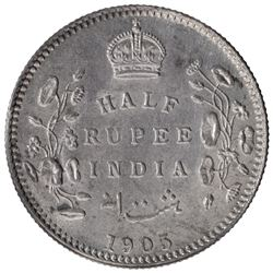 Silver Half Rupee Coin of King Edward VII of Calcutta Mint of 1905.