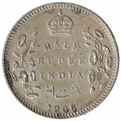 Silver Half Rupee Coin of King Edward VII of Calcutta Mint of 1906.