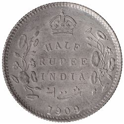 Silver Half Rupee Coin of King Edward VII of Calcutta Mint of 1909.