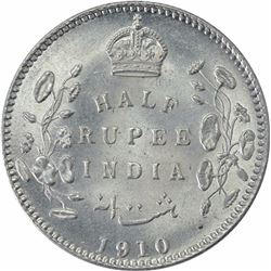 Silver Half Rupee Coin of King Edward VII of Calcutta Mint of 1910.