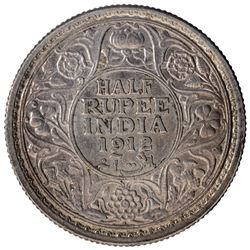 Silver Half Rupee Coin of King George V of Bombay Mint of 1912.