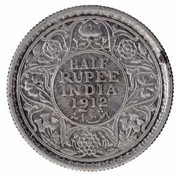 Silver Half Rupee Coin of King George V of Calcutta Mint of 1912.