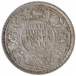Silver Half Rupee Coin of King George V of Calcutta Mint of 1914.