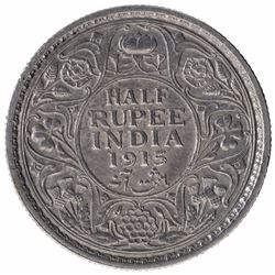Silver Half Rupee Coin of King George V of Calcutta Mint of 1915.