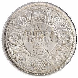 Silver Half Rupee Coin of King George V of Calcutta Mint of  1916.