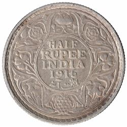 Silver Half Rupee Coin of King George V of Bombay Mint of 1916.