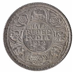 Silver Half Rupee Coin of King George V of Bombay Mint of  1919.