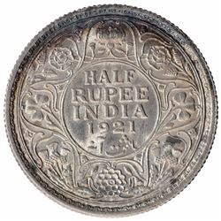 Silver Half Rupee Coin of King George V of Calcutta Mint of 1921.