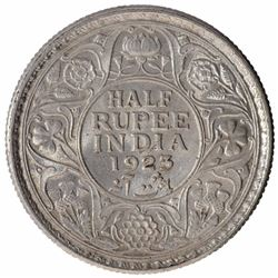 Silver Half Rupee Coin of King George V of Calcutta Mint of  1923.