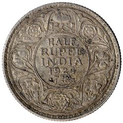 Silver Half Rupee Coin of King George V of Bombay Mint of 1924.