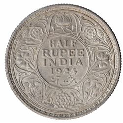 Silver Half Rupee Coin of King George V of Calcutta Mint of 1924.
