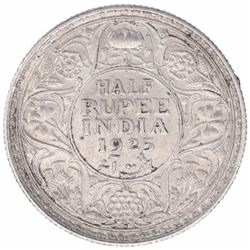 Silver Half Rupee Coin of King George V of Bombay Mint of 1925.