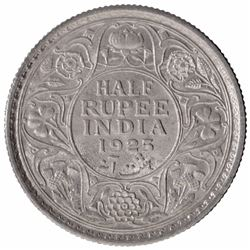 Silver Half Rupee Coin of King George V of  Calcutta Mint of 1925.