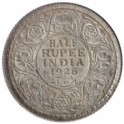 Silver Half Rupee Coin of King George V of Calcutta Mint of 1926.
