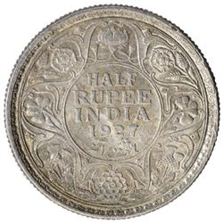 Silver Half Rupee Coin of King George V of Calcutta Mint of 1927.