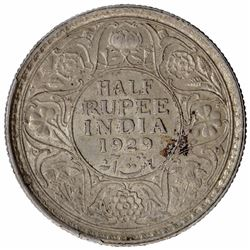Silver Half Rupee Coin of King George V of Calcutta Mint of 1929.