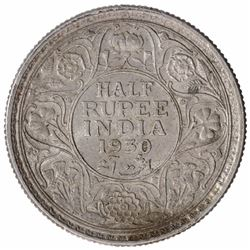 Silver Half Rupee Coin of King George V of Calcutta Mint of 1930.
