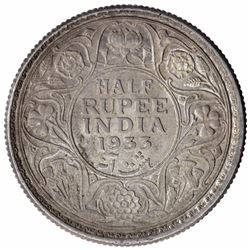 Silver Half Rupee Coin of King George V of Calcutta Mint of 1933.