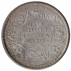 Silver Half Rupee Coin of King George VI of Calcutta Mint of 1939.