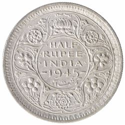 Silver Half Rupee Coin of  King George VI of Lahore Mint of 1945.