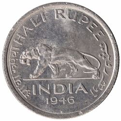 Nickel Half Rupee Coin of King George VI of Bombay Mint of 1946.