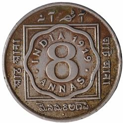 Copper Nickel Eight Annas Coin of King George V of Bombay Mint of 1919.