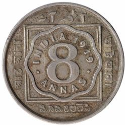Copper Nickel Eight Annas Coin of King George V of Calcutta Mint of 1919.