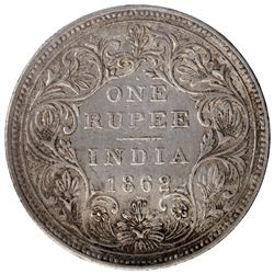 Silver One Rupee Coin of Victoria Queen of Bombay Mint of 1862.