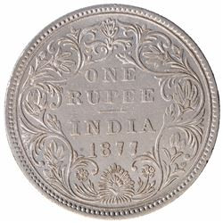 Silver One Rupee Coin of Victoria Empress of Bombay Mint of 1877.