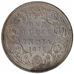 Silver One Rupee Coin of Victoria Empress of Bombay Mint of 1878.