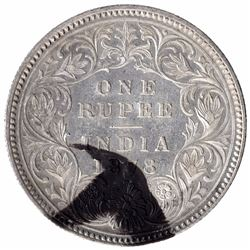 Silver One Rupee Coin of Victoria Empress of Calcutta Mint of 1878.