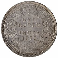 Silver One Rupee Coin of Victoria Empress of Calcutta Mint of 1879.