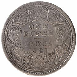Silver One Rupee Coin of Victoria Empress of Calcutta Mint of 1881.