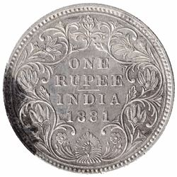 Silver One Rupee Coin of Victoria Empress of Bombay Mint of 1881.
