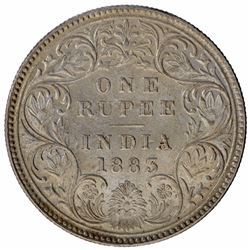Silver One Rupee Coin of Victoria Empress of Bombay Mint of 1883.