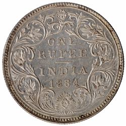 Silver One Rupee Coin of Victoria Empress of Bombay Mint of 1884.