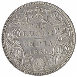 Silver One Rupee Coin of Victoria Empress of Bombay Mint of 1885