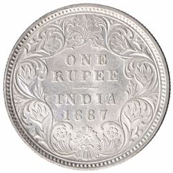 Silver One Rupee Coin of Victoria Empress of Calcutta Mint of 1887.