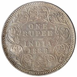 Silver One Rupee Coin of Victoria Empress of Bombay Mint of 1888.