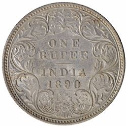 Silver One Rupee Coin of Victoria Empress of Bombay Mint of 1890.