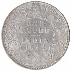 Silver One Rupee Coin of Victoria Empress of Bombay Mint of 1892.